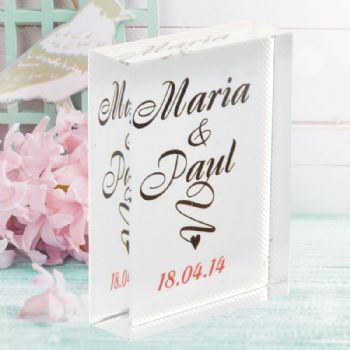 Script Name Crystal - Personalised Wedding, Crystal Anniversary or Valentine's Day Gift